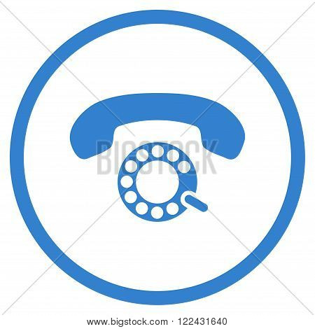 Pulse Dialing vector icon. Picture style is flat pulse dialing rounded icon drawn with cobalt color on a white background.