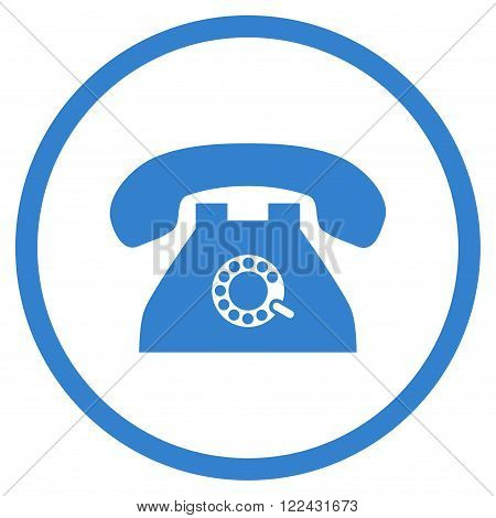 Pulse Phone vector icon. Picture style is flat pulse phone rounded icon drawn with cobalt color on a white background.