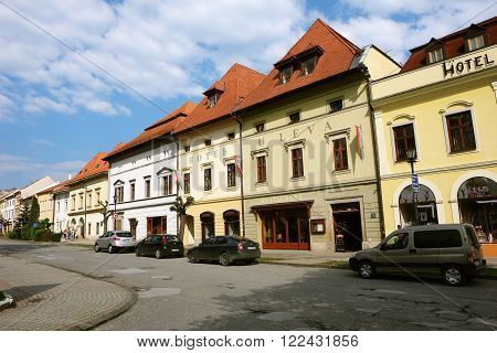 Levoca PRESOV SLOVAKIA - MAY 01 2014: Street with old historical buildings in Levoca town Slovakia.