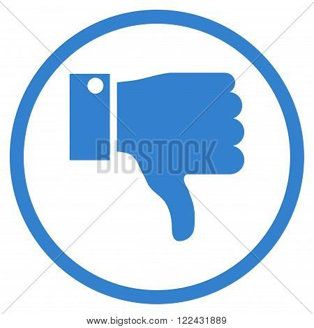 Thumb Down vector icon. Picture style is flat thumb down rounded icon drawn with cobalt color on a white background.