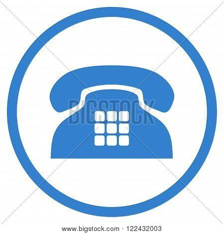 Tone Telephone vector icon. Picture style is flat tone phone rounded icon drawn with cobalt color on a white background.