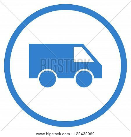 Van vector icon. Picture style is flat van rounded icon drawn with cobalt color on a white background.