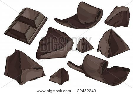 Chocolate shavings and pieces set on white background