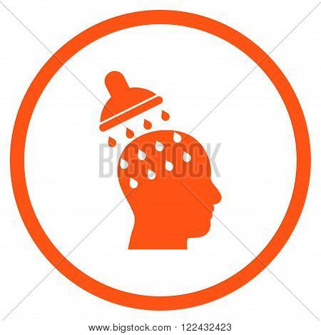 Brain Washing vector icon. Picture style is flat brain washing rounded icon drawn with orange color on a white background.