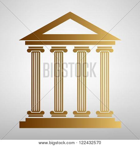 Historical building. Flat style icon with golden gradient