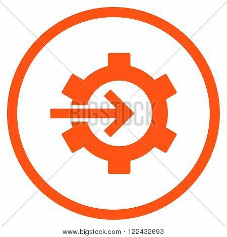 Cog Integration vector icon. Picture style is flat cog integration rounded icon drawn with orange color on a white background.