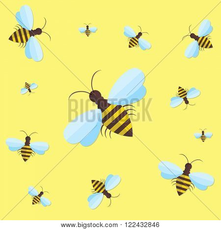 Bee sign icon. Bee on yellow background. Flying insect. Flat icon of bee - vector illustration. Background with flying bees of various sizes can be used as a seamless.