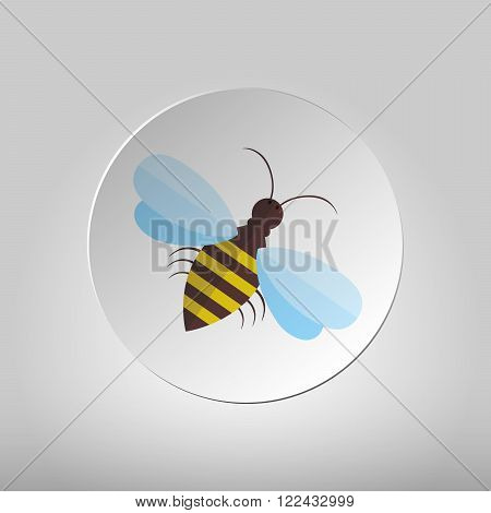 Bee sign icon. Circle flat button with the image of bees. Flying insect. Flat icon of bee - vector illustration.