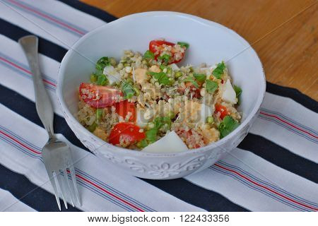 Salad With Quinoa, Tomato, Egg, Mung Bean And Basil