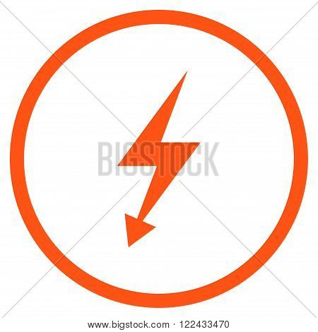 Electrical Strike vector icon. Picture style is flat electric strike rounded icon drawn with orange color on a white background.