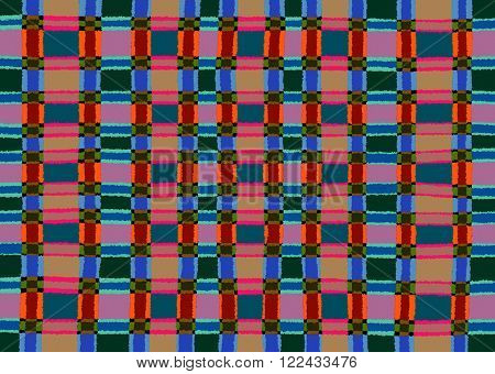 Pink orange and blue distorted squares pattern