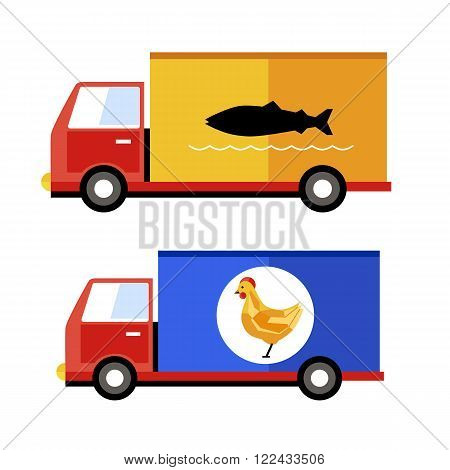 Delivery service, special transport for delivery fish and chicken. Raster illustration.