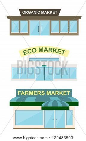 Storefront icon set, raster illustration. Organic market, eco market and farmes market storefront.