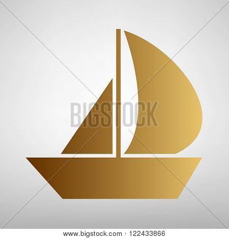 Sail Boat sign. Flat style icon with golden gradient