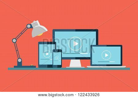Desktop computer, laptop, tablet and smartphone with play button on the screen. Play icon. Video player. Media player. Vector illustration.