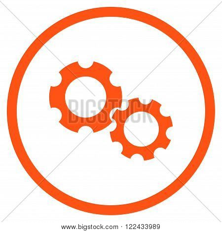 Engine Components vector icon. Picture style is flat gears rounded icon drawn with orange color on a white background.