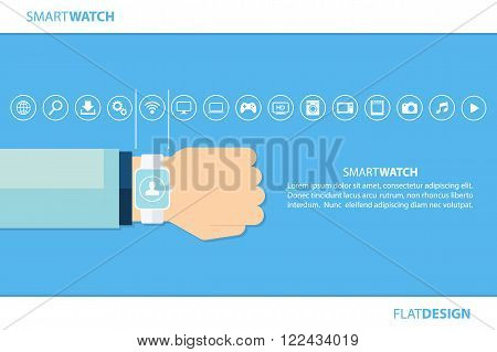 Smart watch and internet of things concept. Smart watch and smart home devices icons. Consumer and connected devices. Vector illustration.