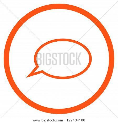 Hint Cloud vector icon. Picture style is flat hint cloud rounded icon drawn with orange color on a white background.