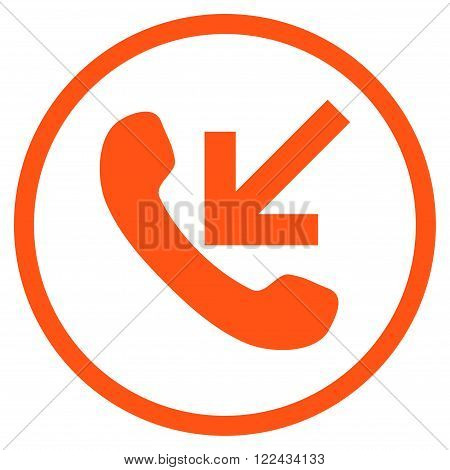 Incoming Call vector icon. Picture style is flat incoming call rounded icon drawn with orange color on a white background.