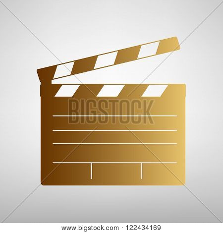 Film clap board cinema sign. Flat style icon with golden gradient