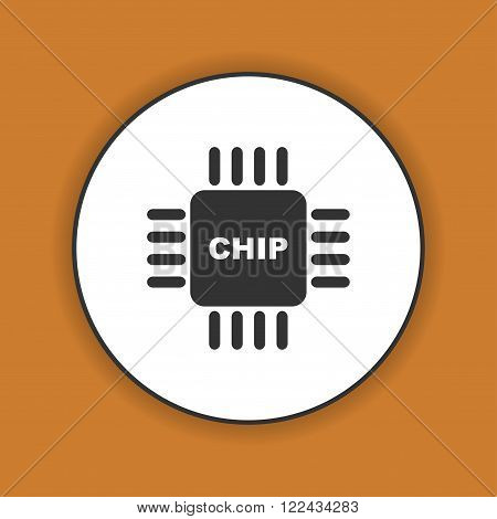 Vector chip icon, isolated vector eps 10 illustration