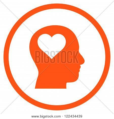 Lover Head vector icon. Picture style is flat lover head rounded icon drawn with orange color on a white background.