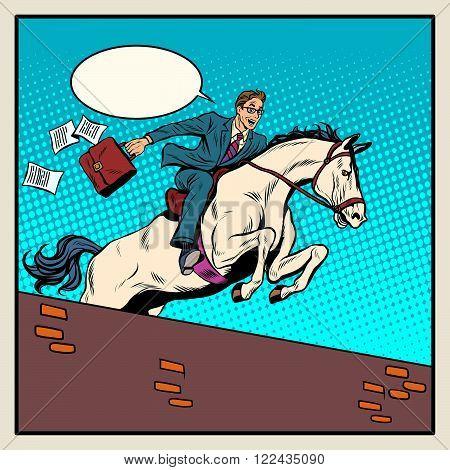 Businessman horseman on horse jumps over barrier pop art style retro. The business concept. Business success