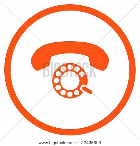 Pulse Dialing vector icon. Picture style is flat pulse dialing rounded icon drawn with orange color on a white background.