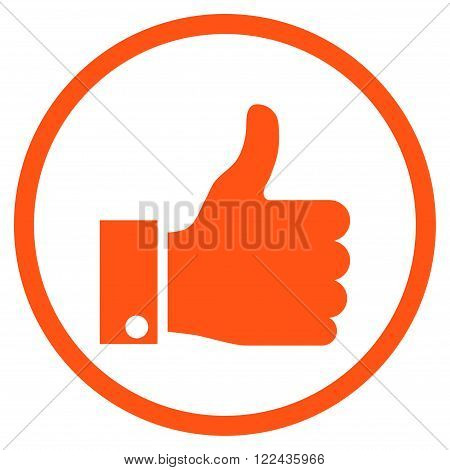 Thumb Up vector icon. Picture style is flat thumb up rounded icon drawn with orange color on a white background.