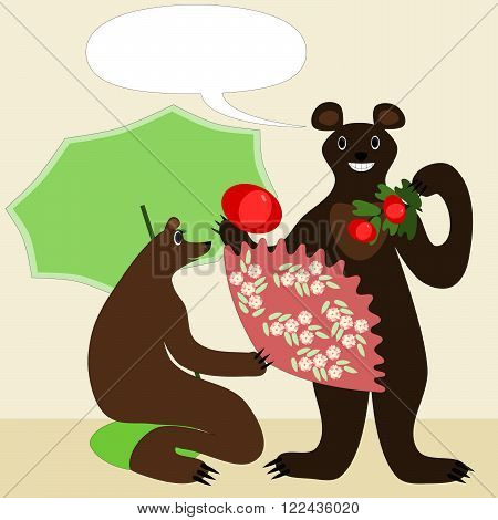 Cartoon bears male and female illustration in japanese style. She kneels on a cushion with a green parasol and fan with sakura cherry flowers pattern. He hold tomatoes. Smiling and happy animals.