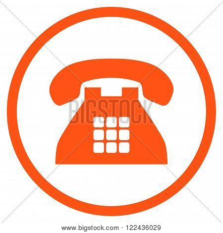 Tone Phone vector icon. Picture style is flat tone phone rounded icon drawn with orange color on a white background.