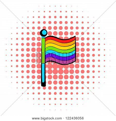 Rainbow flag icon in comics style on a white background