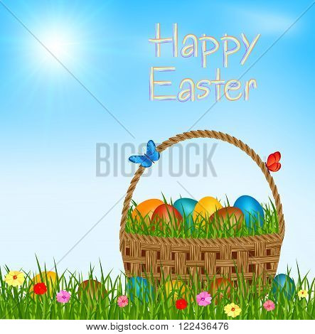 Easter basket with eggs - happy easter vector greeting card. Easter eggs in easter basket on green grass. Happy easter text on blue sky.Vector illustration