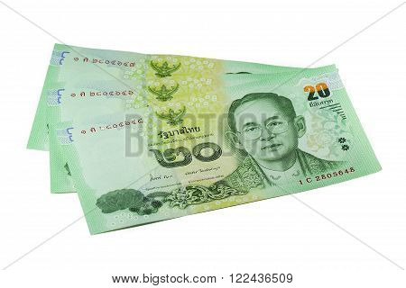 New 2013 Thai 20 Baht Bill Isolated on White Background
