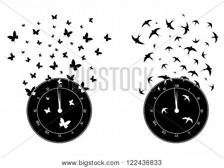 set of vector illustrations with clock butterflies and swallows in black and white
