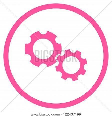 Configuration vector icon. Picture style is flat gears rounded icon drawn with pink color on a white background.