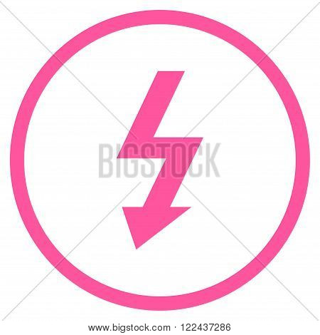 High Voltage vector icon. Picture style is flat high voltage rounded icon drawn with pink color on a white background.