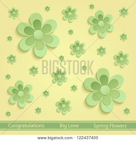 Flowers Spring paper 3D yellow green vector