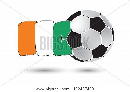Soccer Ball And Ivory Coast Flag With Colored Hand Drawn Lines