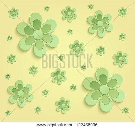 Flowers Spring paper 3D yellow green wallpaper raster