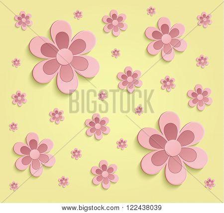 Flowers Spring paper 3D yellow pink wallpaper raster