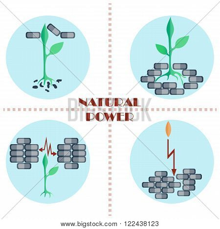 Set of flat vector icons. The sprout punching brick wall and growing up. Natural power