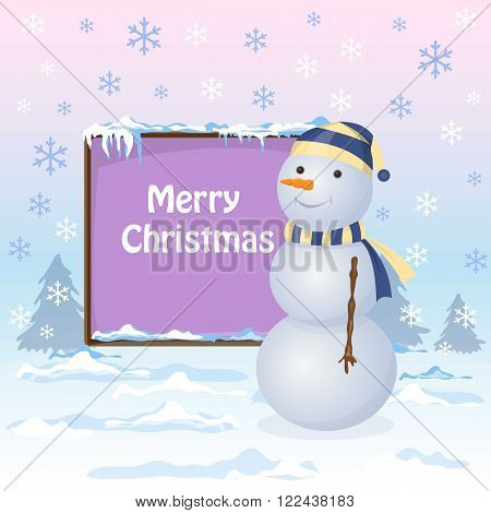 Snowman is standing near the board. Snowflakes are falling. Winter landscape. Snowdrift. Place for the text
