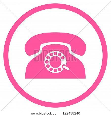 Pulse Phone vector icon. Picture style is flat pulse phone rounded icon drawn with pink color on a white background.