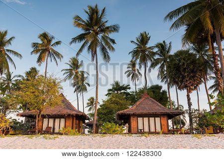 Resorts in island beside the sea beach Andaman sea Thailand