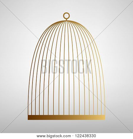 Bird cage sign. Flat style icon with golden gradient