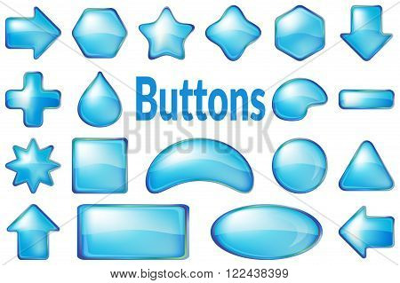 Set of Glass Blue Buttons, Computer Icons of Different Forms for Web Design on White Background. Eps10, Contains Transparencies. Vector