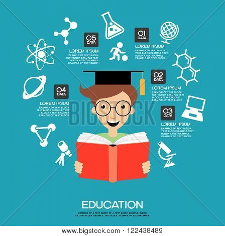 Learning infographic Template. Concept  education. Child with a book surrounded by icons of education.