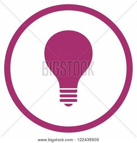 Bulb vector icon. Picture style is flat bulb rounded icon drawn with purple color on a white background.