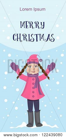 Christmas postcard. The girl in winter coat standing with his hands up. Vector illustration
